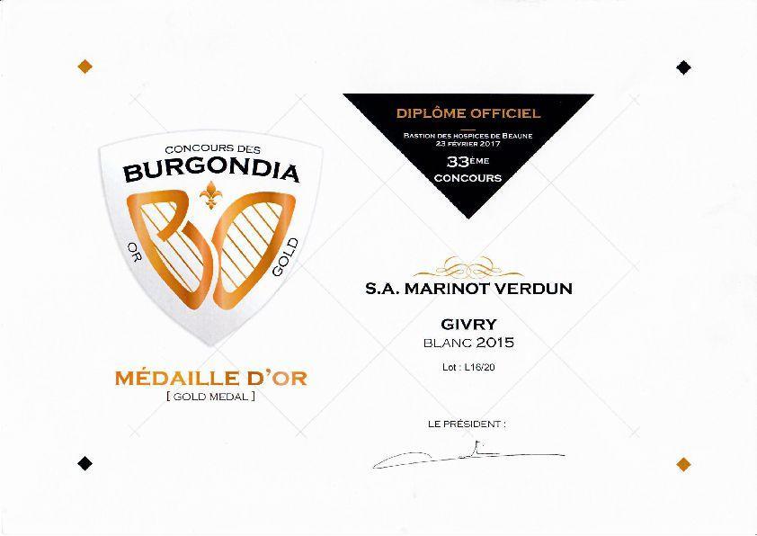 Cave de Mazenay médaillée d'or du concour des Burgondia pour son Givry 2015