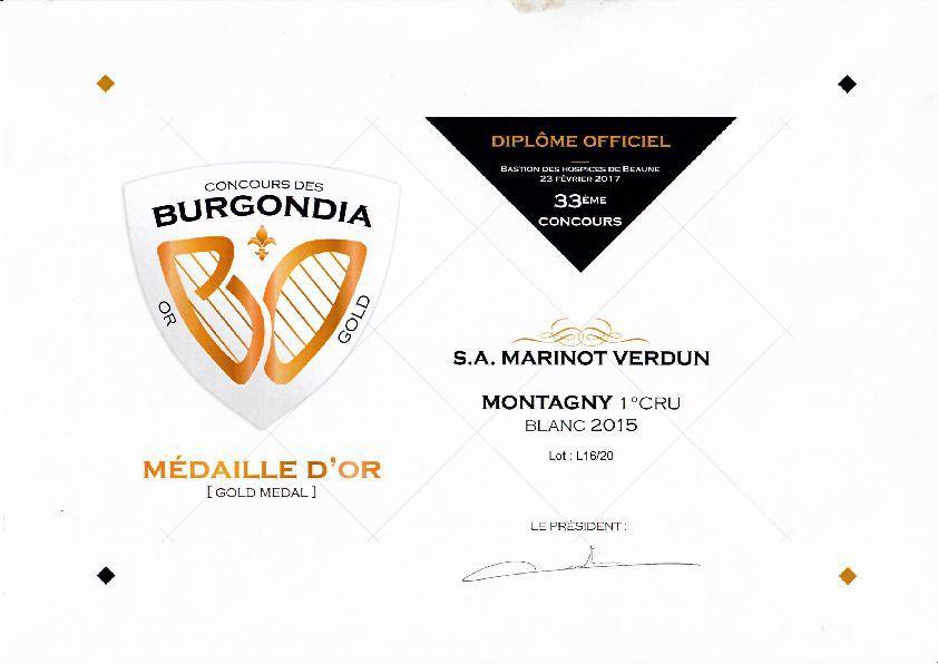 Cave de Mazenay médaillée d'or du concour des Burgondia pour son Montagny 1° cru 2015