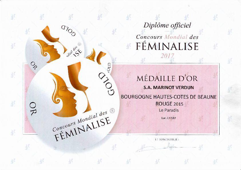 Cave de Mazenay médaillée d'or du concour FEMINALISE pour son Côtes de Beaune 2015