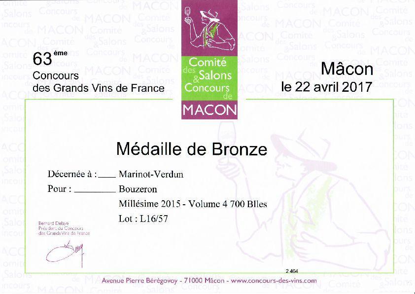 Cave de Mazenay médaillée de Bronze du concour des grands vins de France pour son Bouzeron 2015