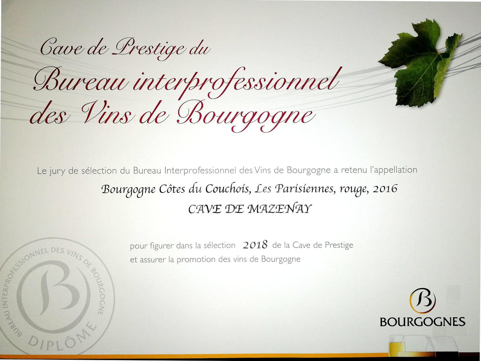 Diplome Cave de Prestige
